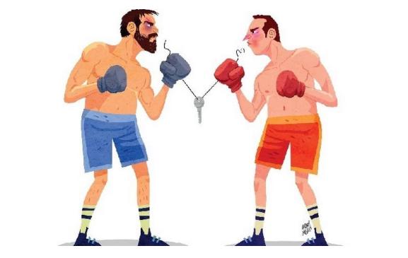 """Arte de André Mello mostrando dois lutadores de boxe e a chave de um apartamento para a pauta """"Entrega de Imóvel - Direitos e deveres do Inquilino"""" do Blog da Estasa."""