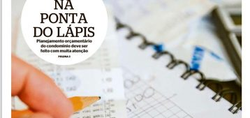 """Foto de capa da matéria do jornal o Dia com um lápis e uma nota fiscal para a pauta """"Previsão orçamentária do condomínio sem erros"""" do Blog da Estasa."""