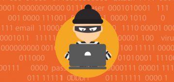 """Arte mostrando um hacker mexendo em um laptop para a pauta """"Cuidados para evitar fraudes no seu boleto condominial"""" para o blog da Estasa."""