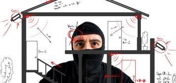 """Arte de um ladrão invadindo uma casa para o post: """"Como prevenir assaltos em condomínios?"""" do Blog da Estasa."""